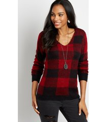 maurices womens buffalo plaid v neck pullover sweater red