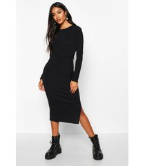 rib crew neck belted midi dress, black