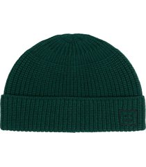 acne studios embroidered face fisherman beanie - green