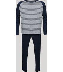 pijama masculino raglan com listras manga longa cinza mescla