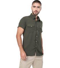camisa masculina  manga corta verde doble bolsillo los caballeros