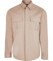 river island mens beige double chest pocket long sleeve shirt