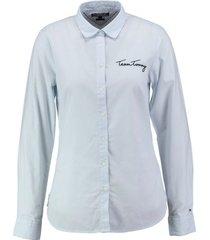 tommy hilfiger lichtblauwe fitted blouse twill katoen valt kleiner