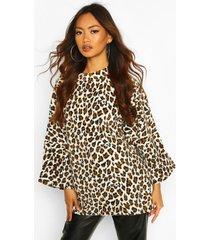 oversized slouch fleece top, leopard