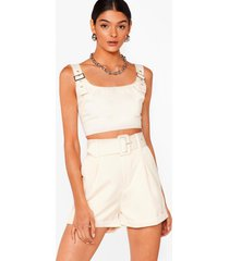 womens bad buckle babe crop top and shorts set - stone