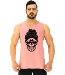 regata clã¡ssica masculina alto conceito caveira com gorro rosa beb㪠- rosa - masculino - algodã£o - dafiti