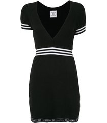 chanel pre-owned sport line short sleeves one piece dress - black