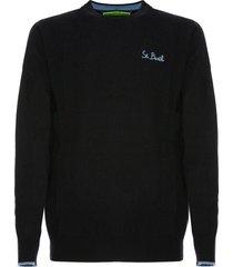 mc2 saint barth blue navy man sweater st. barth heart-side embroidery