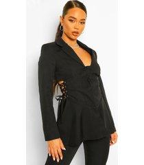 getailleerde blazer met korset taille detail, black