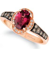 le vian raspberry rhodolite (1-3/8 ct. t.w.) & diamond (1/3 ct. t.w.) ring in 14k rose gold