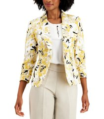 kasper petite floral-print jacket