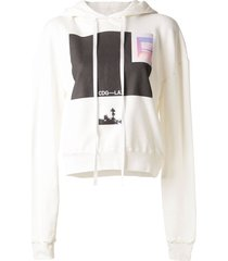 unravel project graphic print hoodie - white