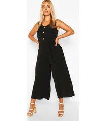 plus linnen achtige jumpsuit met ceintuur, zwart
