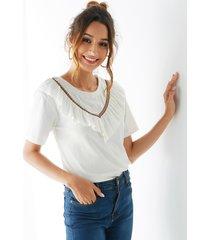 yoins tribal blanco redondo tejido de punto cuello camiseta de manga corta