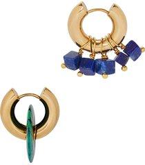 asymmetric blue lapis gold-tone hoop earrings