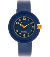 crayo unisex equinox navy leatherette strap watch 40mm