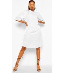 cotton roll sleeve oversized midi dress, white