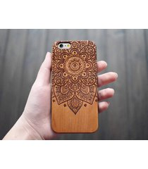 for iphone7 7plus 6 6s plus  new natural wooden cherry wood mandala phone case