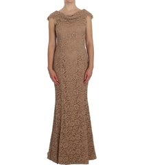 floral lace full length schede jurk