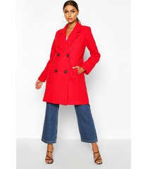 double breasted slim fit wool look coat, red