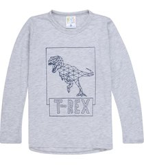 camiseta gris jaspe , estampado dinosaurio t - rex manga larga