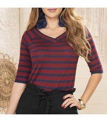 blusa vera gris-vinotinto para mujer croydon