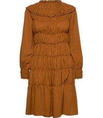 gathered midi dress knälång klänning brun cathrine hammel