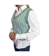 colete feminino trico pied poule tricot moda inverno 2021 verde