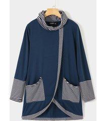 vestido de manga larga de cuello alto con diseño de bolsillo azul marino a rayas