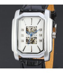 reloj mecánico winner para hombre, 033 reloj hueco cuadrado reloj