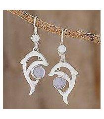 jade dangle earrings, 'lilac dolphin' (guatemala)