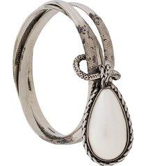 alexander mcqueen teardrop stone bracelet - silver