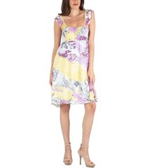 24seven comfort apparel ruffle strap floral sleeveless a-line dress