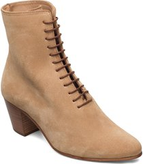 avenue suede lace up 201 shoes boots ankle boots ankle boot - heel beige royal republiq