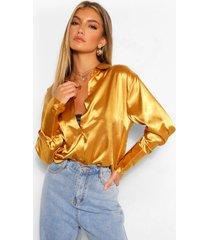satijnen blouse met oversized manchettes, goud