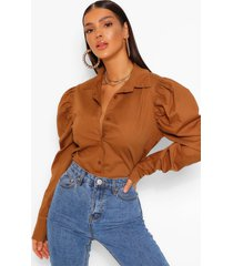 statement shoulder shirt, stone