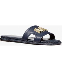mk sandalo slide kippy in pelle - navy (blu) - michael kors