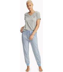 tommy hilfiger women's signature pajama pant blue script logo - m