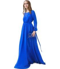sukienka długa zwiewna kobaltowa