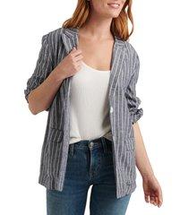 women's lucky brand stripe linen blend boyfriend blazer, size small - grey