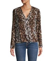 l'agence women's kyla leopard-print silk blouse - leopard - size xs