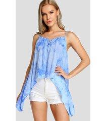 yoins blusa sin mangas con tirantes finos con efecto tes decir tinte azul