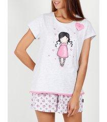 pyjama's / nachthemden admas pyjamashort t-shirt awareness santoro grijs