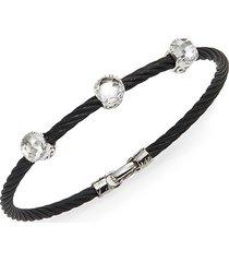 alor women's noir white topaz, 18k white gold & black stainless steel bangle bracelet