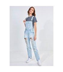 macacão jeans claro destroyed