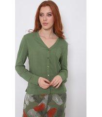 camisa feminina the style box manga longa decote v - azul verde - kanui