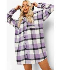 geruite oversized blouse jurk met capuchon, lila