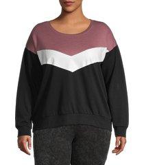 marc new york performance women's plus colorblock sweatshirt - black - size 2x (18-20)