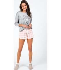tamm buffalo plaid pajama short - blush