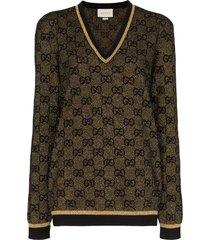 gucci v-neck lurex knit gg sweater - black